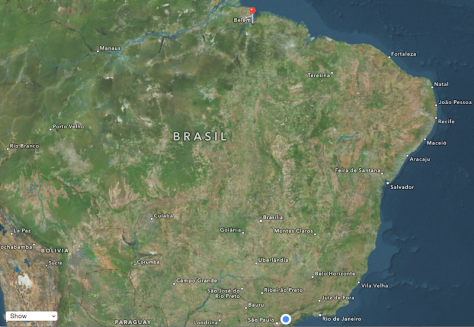 Brazil map with Belém and SJCampos marked.